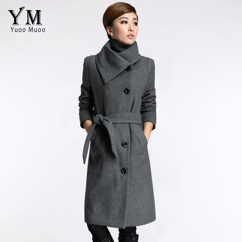 Yuoo Muoo - New High Quality Long Grey Cashmere Wool Coat - Plus ...