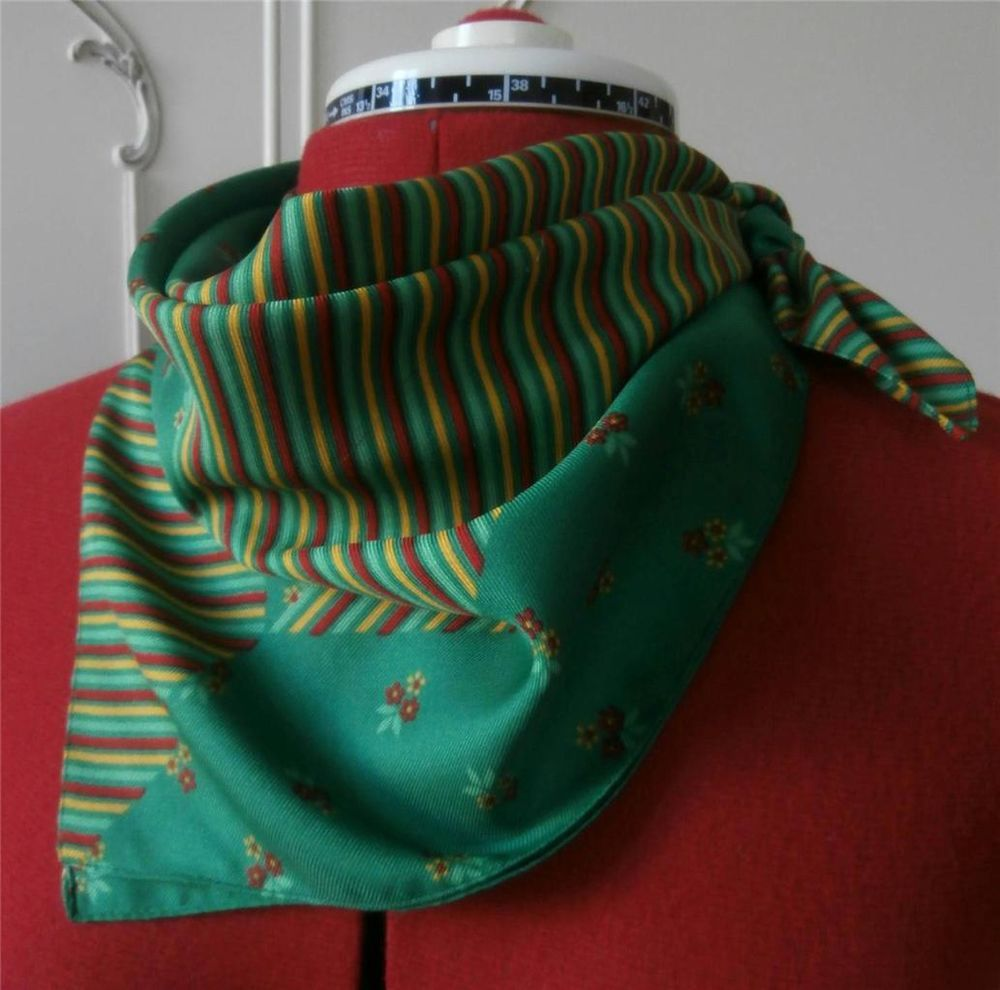 Vintage 1970 s Green, Yellow & Red Floral/ Stripe Print Bandana Scarf by Jacqmar