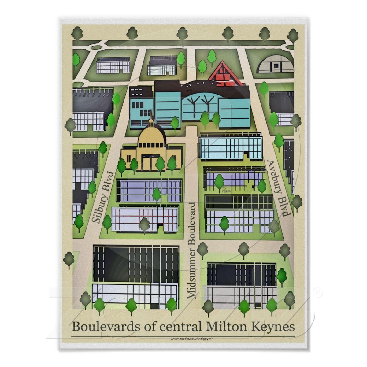 Milton keynes boulevards poster print zazzlecouk