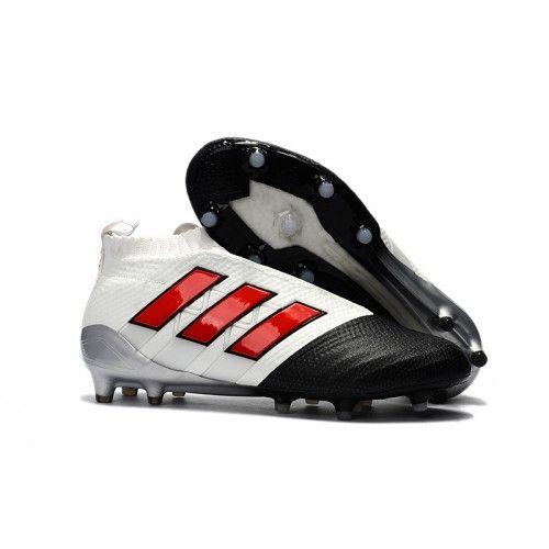 Billige 2017 Adidas ACE 17 PureControl FG Fu?ballschuhe Wei? Schwarz Rot  Kaufen, Günstig Fußballschuhe Sale Online