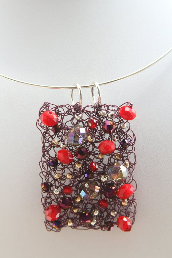 Purple and Red Wire Crochet necklace by kimjustice on Etsy, $40.00