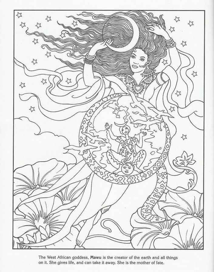 mawu afrian earth goddess challenging coloring pages for adults