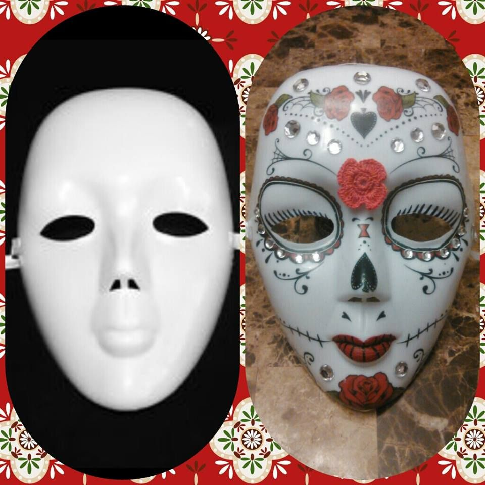Plastic Masks To Decorate Diy Do It Yourself  How To Make A Day Of The Dead  Sugar Skull