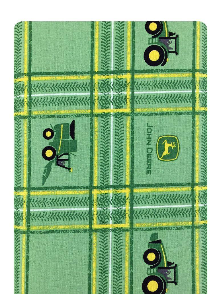 John Deere Tractor Plaid on Green