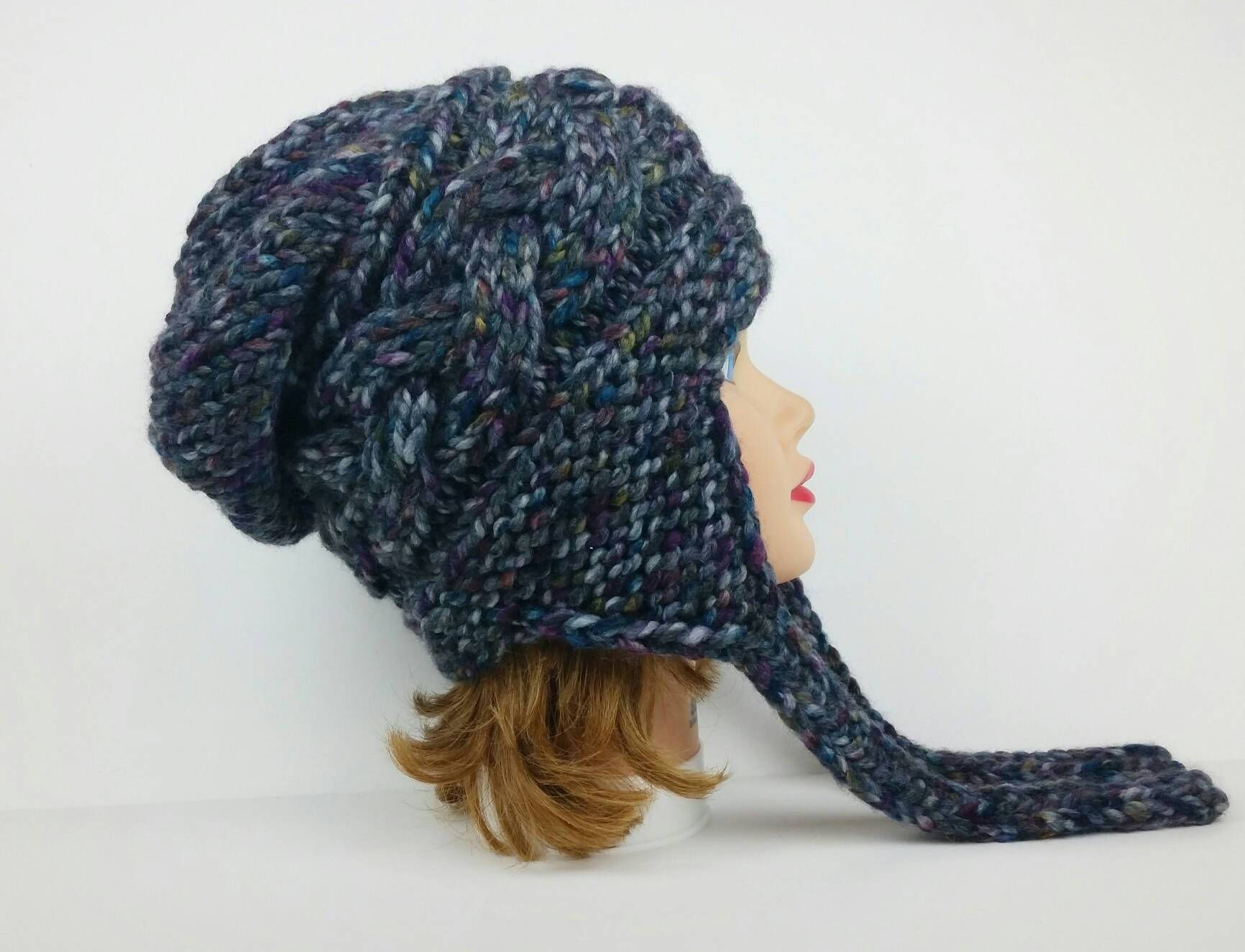 Ear Flap Hat - Women's Hat With Ear Flaps - Cable Knit Hat ...