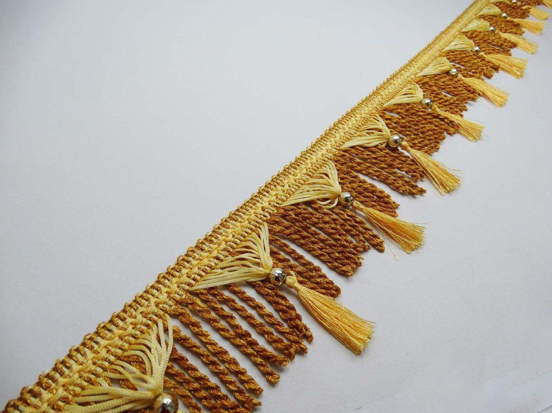 Curtain Fringe Lace Yellow Tassel Trim Upholstery Ribbon 4 Trim