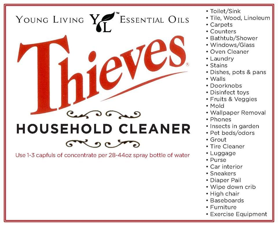 It's just an image of Peaceful Young Living Thieves Cleaner Label