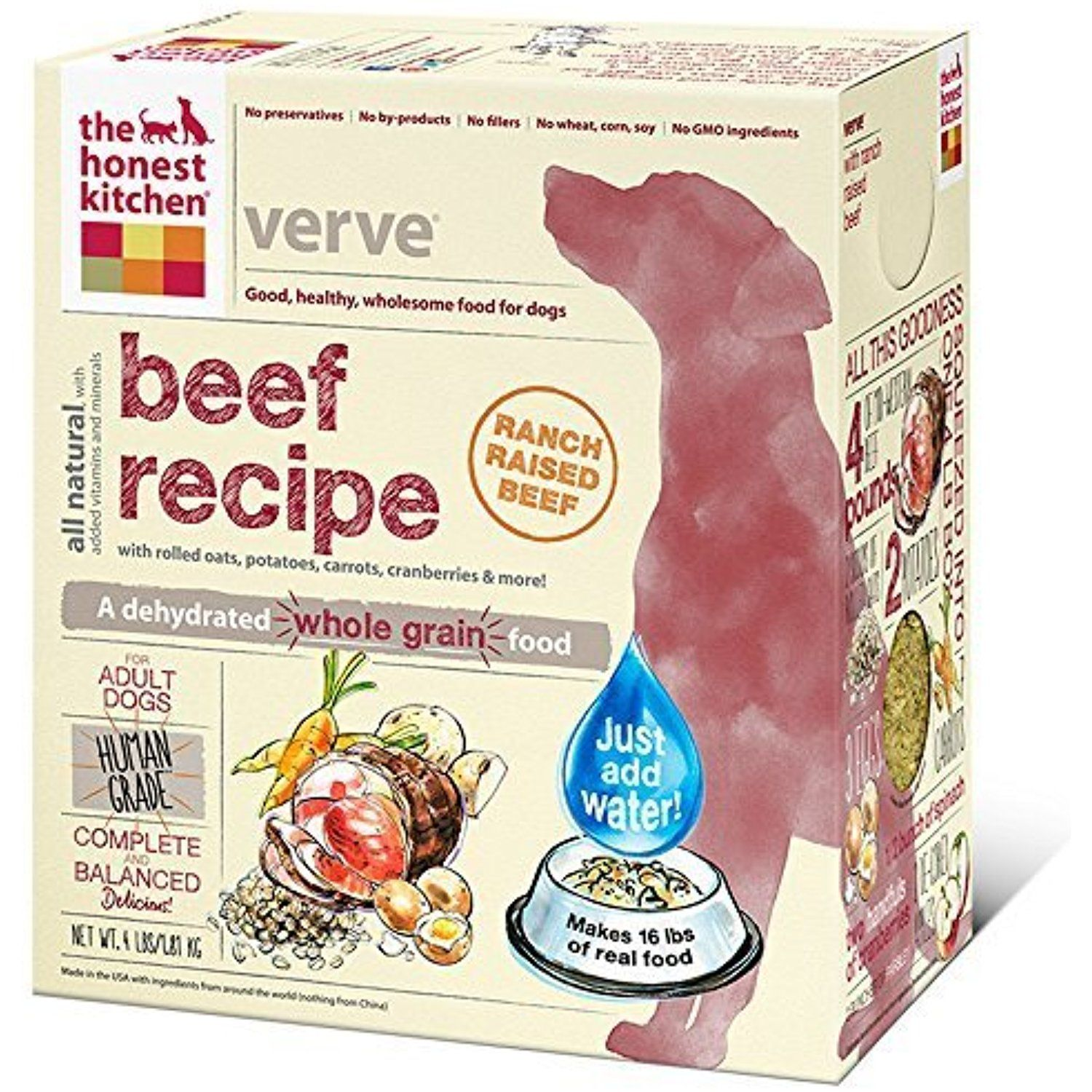 The Honest Kitchen Verve Beef Whole Grain Dog Food 4 Lb By The