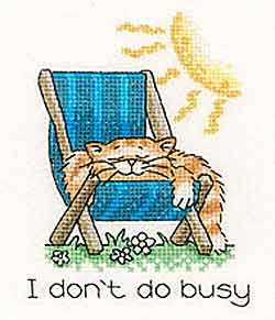 I Don't Do Busy - Cats Rule! Cross Stitch Kit by Heritage Crafts