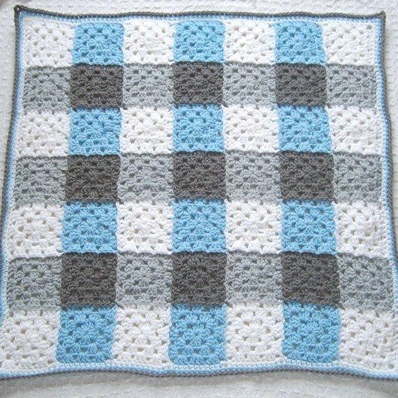 Crochet Blue Baby Blanket Gray Blue Crochet Granny