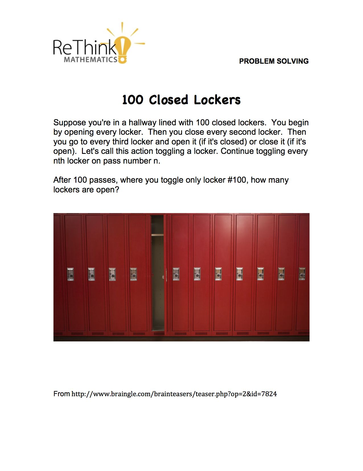 Suppose You Re In A Hallway Lined With 100 Closed Lockers