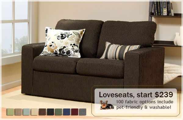 Great apartment sized furniture with pet friendly fabric win win for the home apartment - Apartment size living room furniture ...