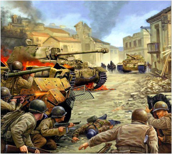 U.S.ARMY - Anzio. Un plotone della 3.ª Divisione di Fanteria affronta un  Elefant della sPzAbt. 653 appartenente alla Division Hermann Göring, Italia, maggio 1944. Vincent Wai: