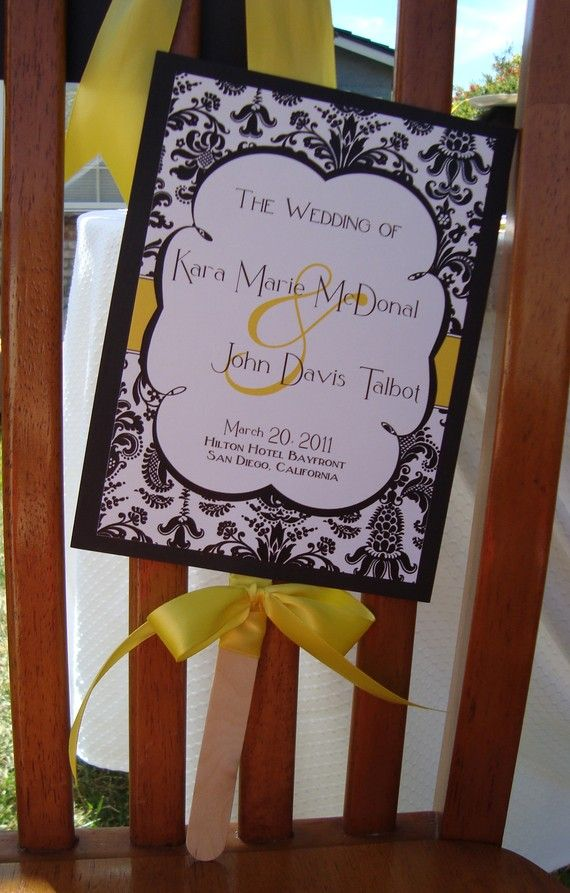 Wedding Program Paddle Fan Printable Printable Wedding Reception