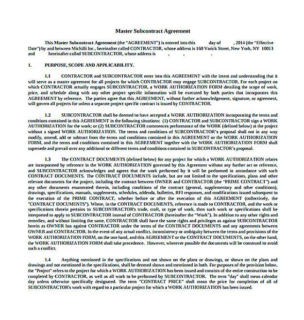 Download Subcontractor Agreement , 11+ Subcontractor Agreement - subcontractor contract template