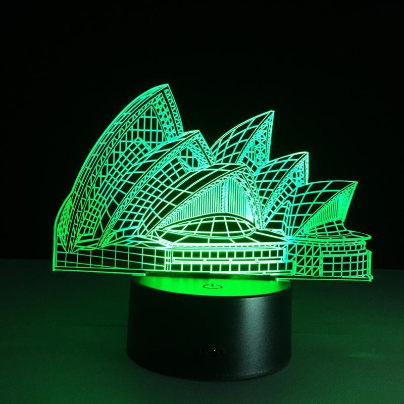 Sydney Opera 3D Optical Illusion LED Table Night Light USB Cable - halloween desk decorations