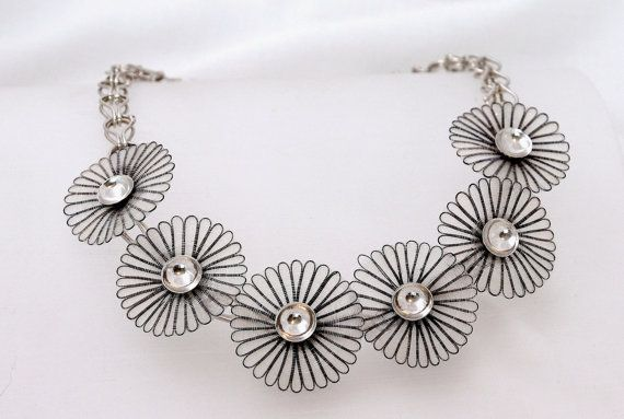 Silver Necklace - Flower Necklace