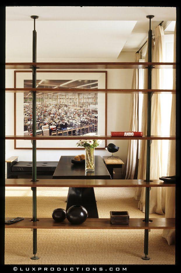 Bookshelf Room Divider Art Modern Rustic Pipes Reclaimed