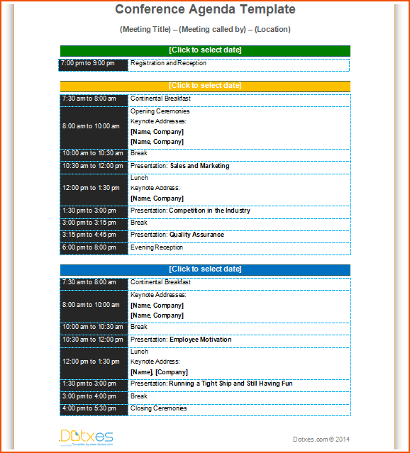 Conference Agenda Template Basic Format  Dotxes  Templates