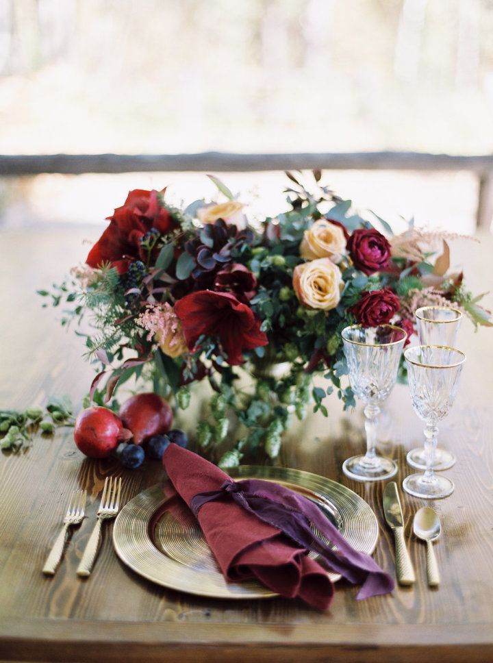 Beautiful autumn wedding with burgundy centerpiece