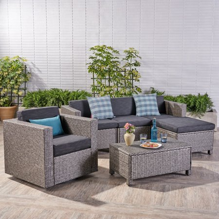 Cascada Outdoor 6 Piece Wicker L Shaped Sectional Sofa Set With