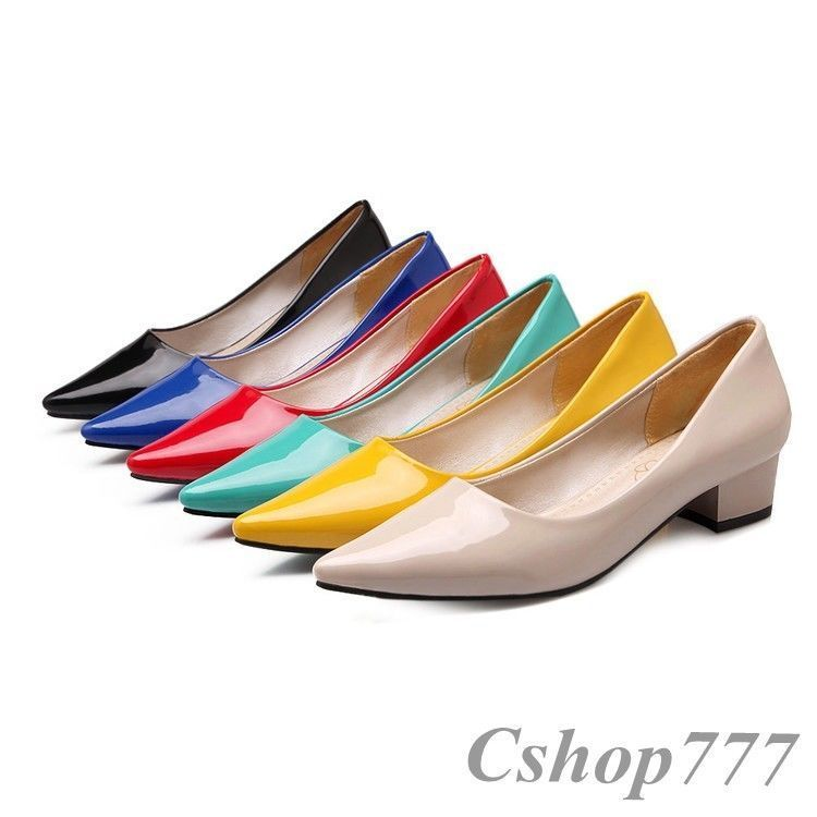 Chic Slips On Casual Womens Blocks Heels Patent Leather Pointed Toe Work Shoes @