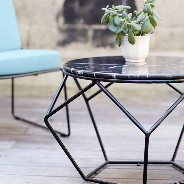 Table Basse Ronde De Jardin En Metal Noir Et Marbre Table Basse