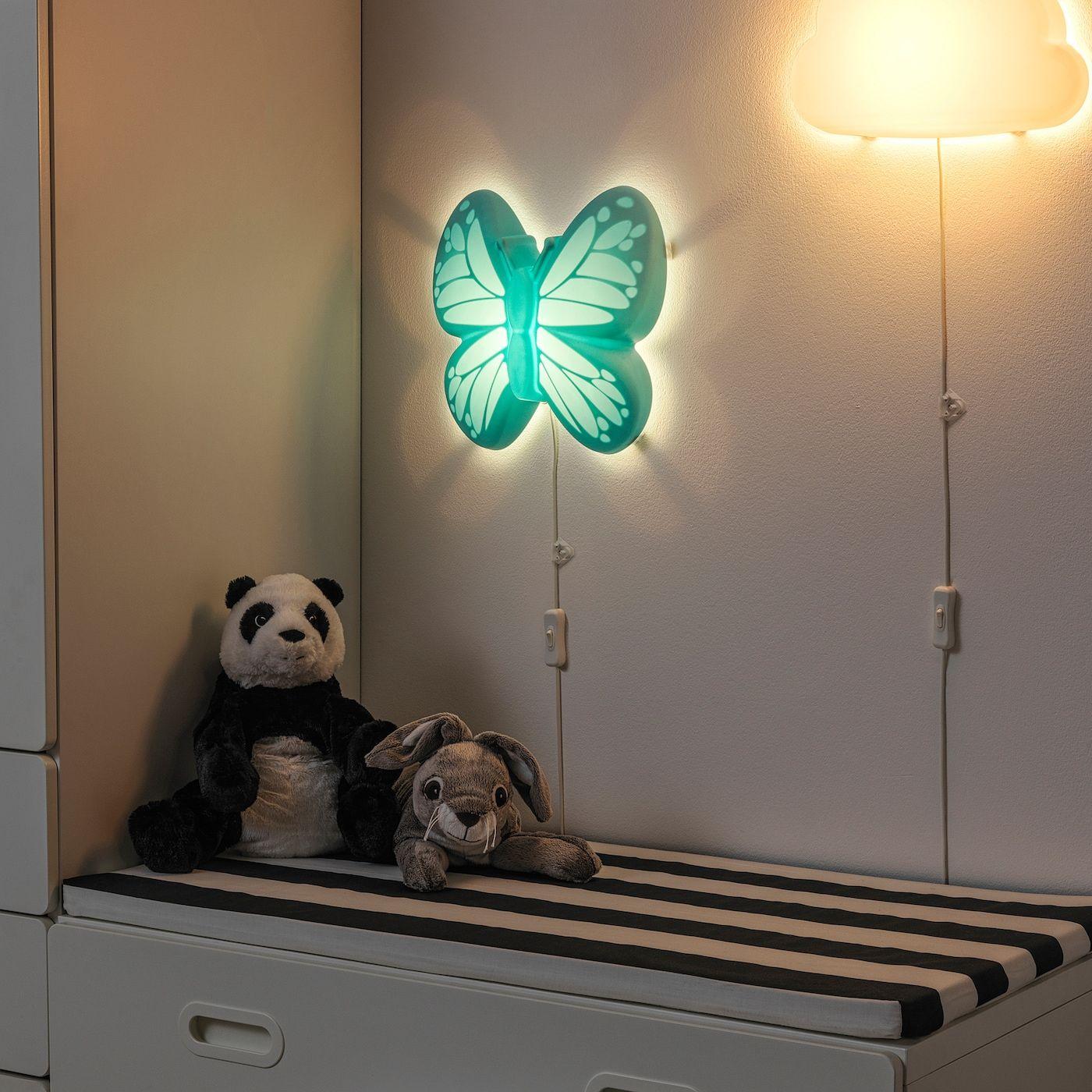 Upplyst Wandleuchte Led Schmetterling Hellblau Ikea