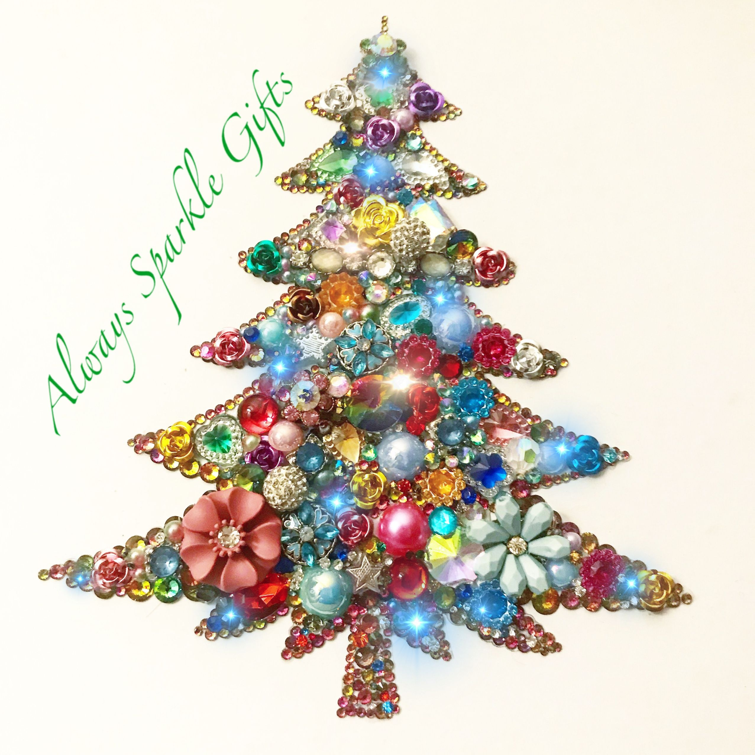 Amazing Sparkling Christmas Tree Button Art Recycled Jewellery Beads Buttons R Vintage Jewelry Repurposed Sparkle Gift Vintage Style Christmas Decorations