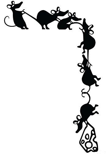 Adorable Climbing Mice Stealing Cheese Whimsical Silhouet
