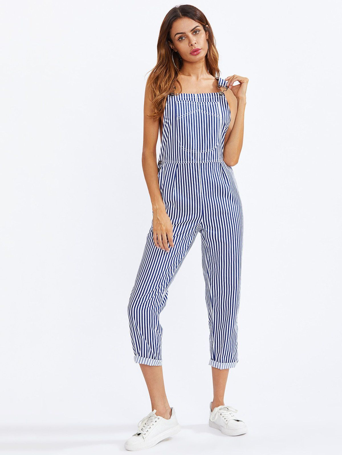 077380cda535 Jumpsuits by BORNTOWEAR. Bib Pocket Front Striped Overalls