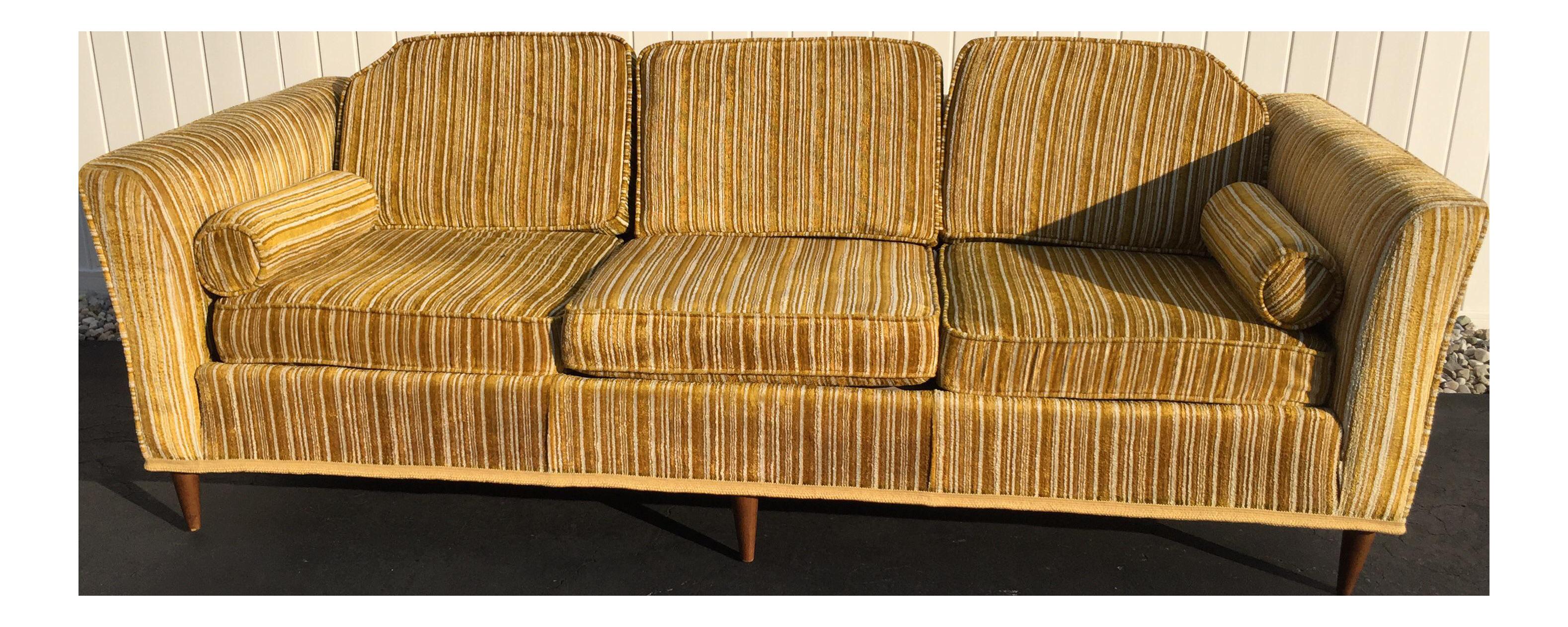Superb Kroehler Royale Mid Century Gold Striped Sofa