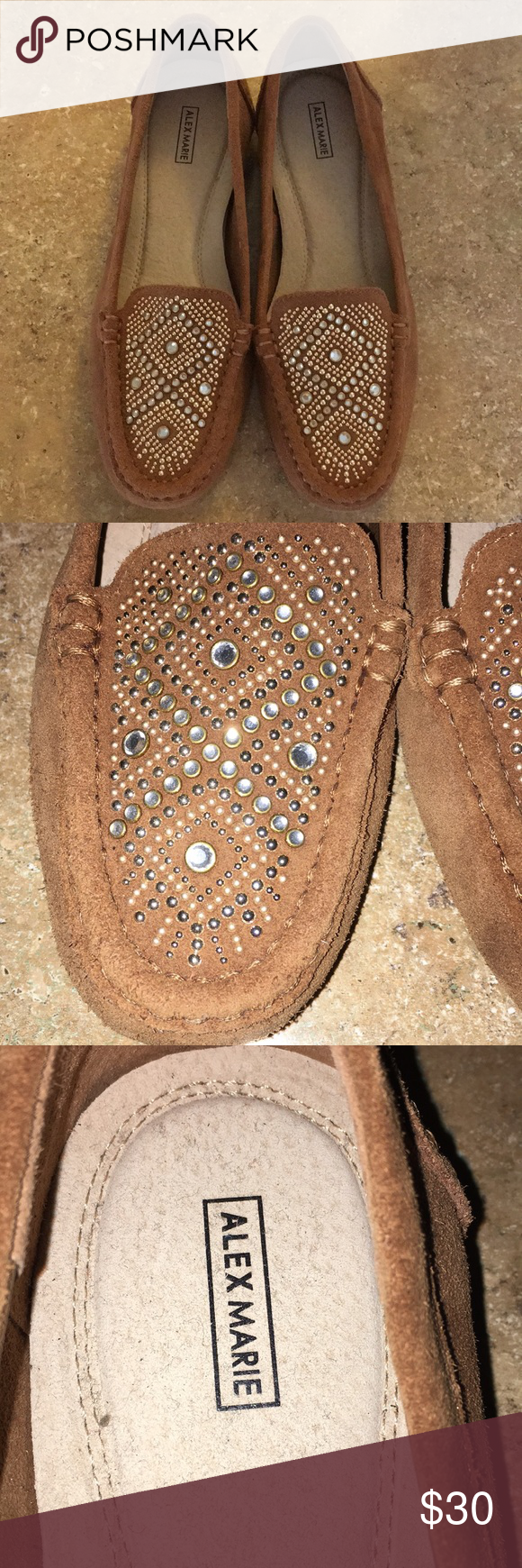 ad159253a30 NEW Alex Marie tan brown suede loafers 6.5M Bedazzled cute never worn  loafers in tan with silver and gold beading on suede. So cute and perfect  for Fall.