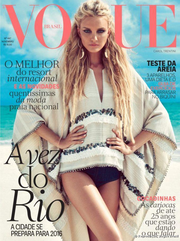 Carol Trentini foi escolhida para estrelar a capa da mais recente edição da Vogue  Brasil, e usou um look ultra praiano 0776f80f12