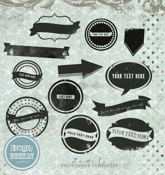 Labels Custom Shapes Overlays, Photoshop Templates, psd, png files - abel templates psd