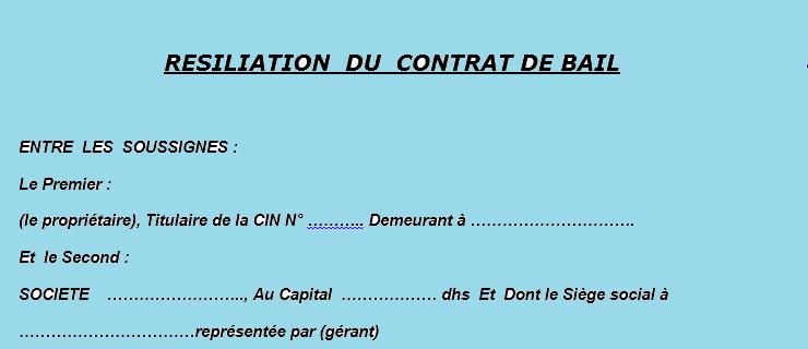 Model Resiliation Du Contrat De Bail Contrat De Bail Contrat Declaration Fiscale
