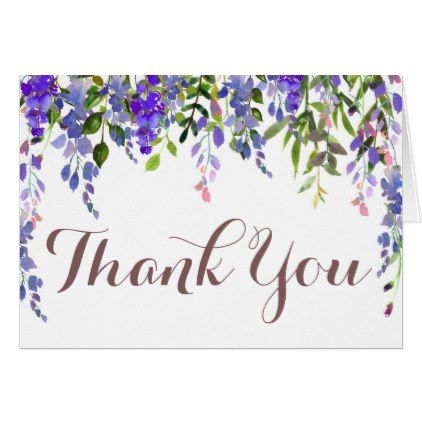 Lilac /& Blue Flower Vase Vintage Personalized Wedding Thank You Cards