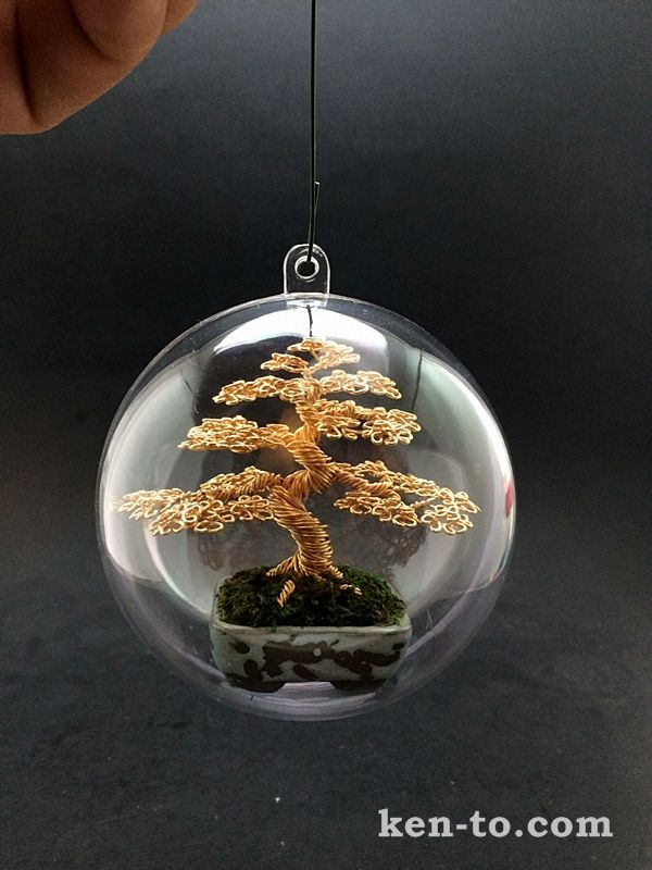 Gold Wire Bonsai Tree Christmas Ornament By Ken To 91210141 Metal Tree Wall Art Metal Tree Bonsai Tree