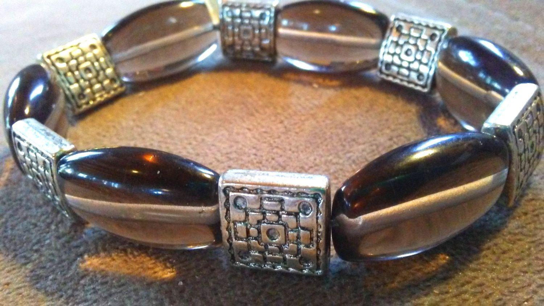 One of a Kind Smoky quartz geometric stretch bracelet #1234 by…