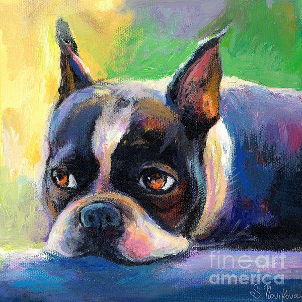Pensive Boston Terrier dog painting by Svetlana Novikova, www.SvetlanaNovikova.com