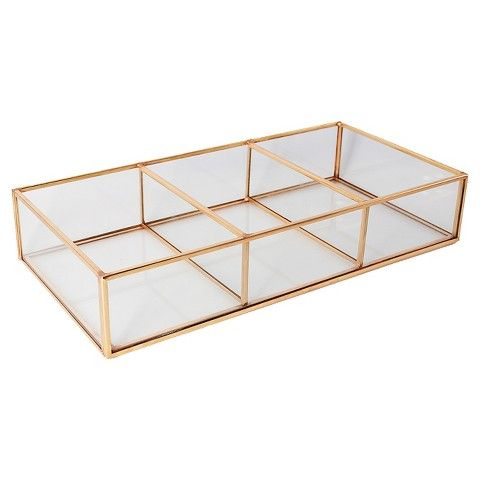 Threshold Glass and Metal 3 Compartment Vanity Tray from Target. Threshold Glass and Metal 3 Compartment Vanity Tray from Target