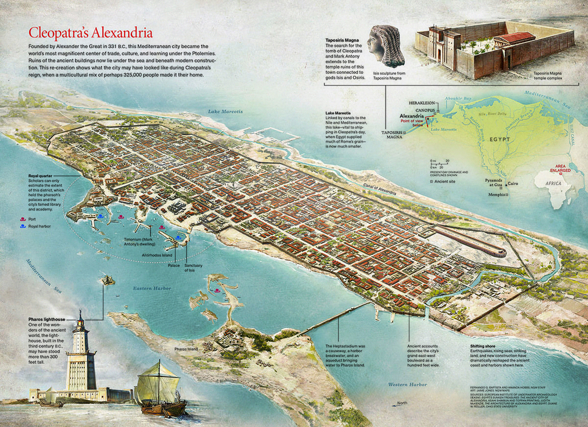Louisiana Map Alexandria%0A The eastern port of Alexandria as it looked during the Ptolemaic and Roman  periods  The today u    s sunken lands and structures are marked in yellow