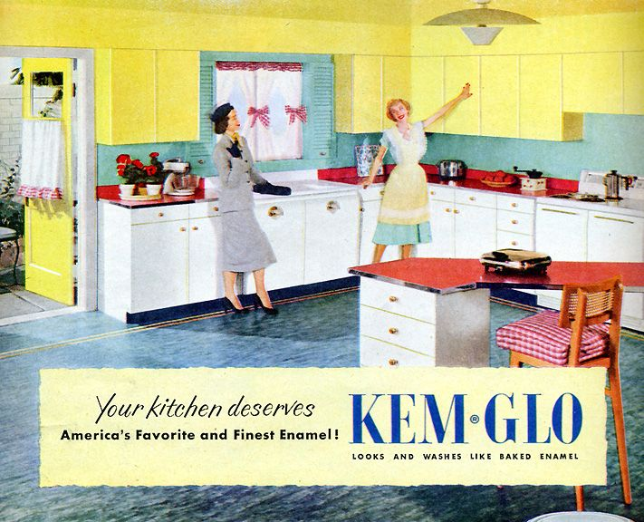 1950s Kitchen Colors Petal Pink Turquoise Green Stratford Yellow Canary Yellow Cadet Blue Woodtone Brown Sherw Kitchen Colors 1950s Decor 1950s Kitchen