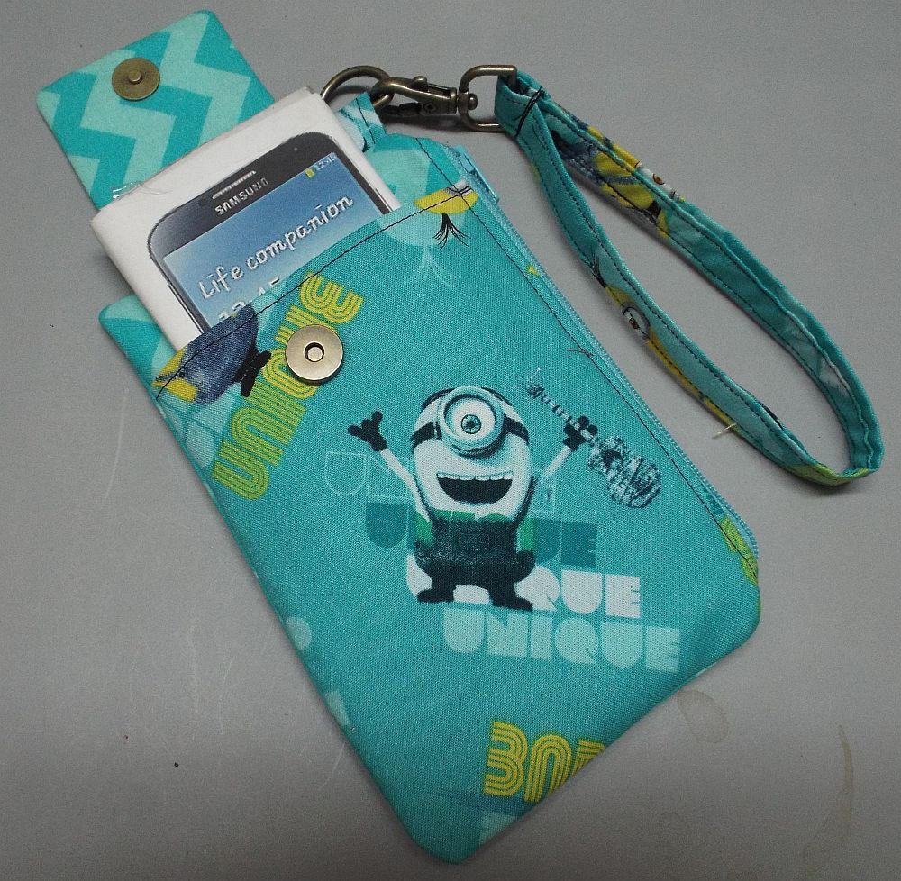 Women's Wristlet Wallet or Small Bag Minions fabric by AlwaysALittleBehind on Etsy