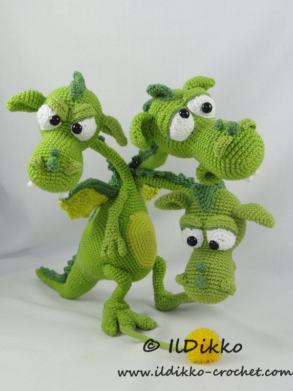 Amigurumi Crochet Pattern - Brutus-Brian-Boris the Three Headed ...