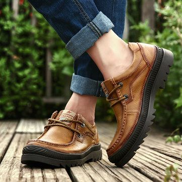 men genuine cow leather outdoor wearable lace up casual