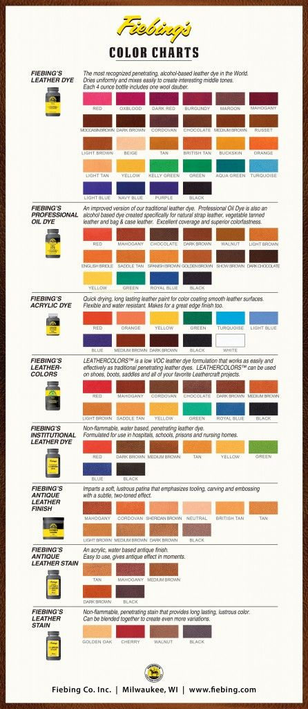 Color Charts Dyes Stains Antiques Shop For Leather Care Products Shop For Shoe Polish Fiebing S Horse L Leather Dye Painting Leather Leather Diy