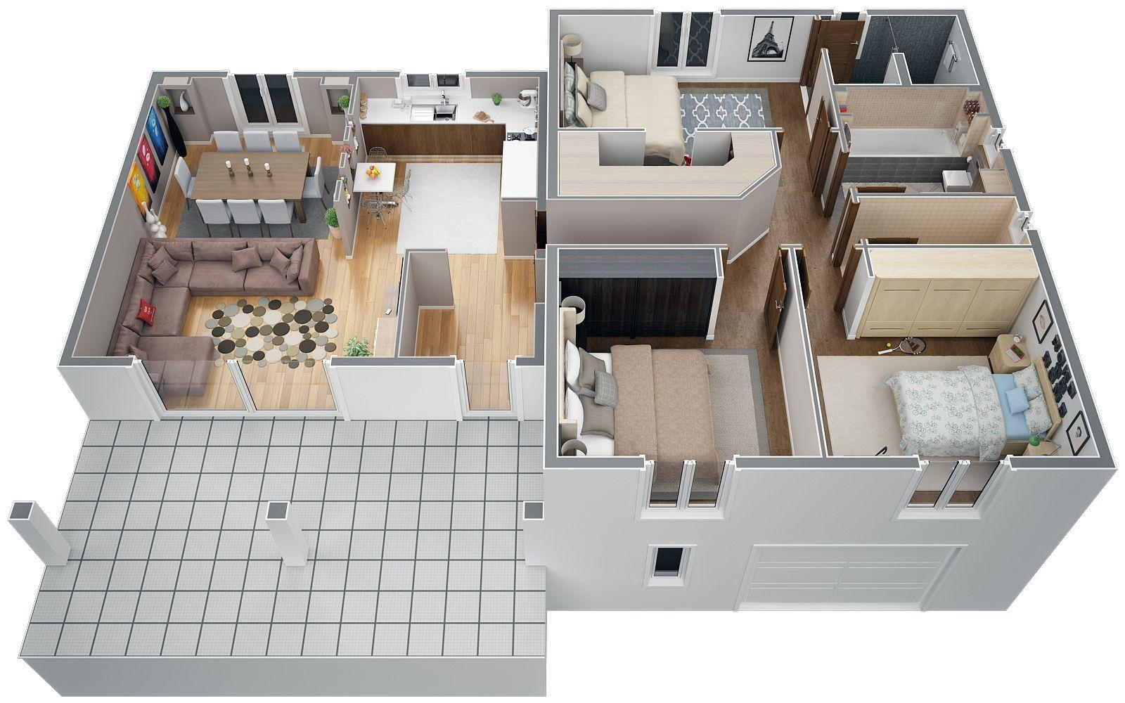 Maison Plan Plan Maison 100m2 A Etage Avec Garage Plan Maison A Etage 100m2 House Plans Apartment Plans Modern House Design