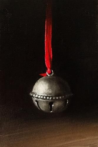 """""""Silver Bell on Red Ribbon"""" - Original Fine Art for Sale - © Mary Ashley"""