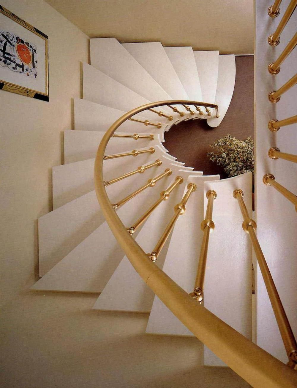 Best Small Spiral Staircase Design With Luxury Gold Balustrade 400 x 300
